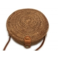 Bag round natural with leather strap
