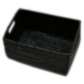 Rectangular open box with inlaid handles