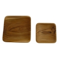Recycled teak wood square plate with rounded corners