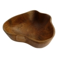 Recycled teak wood bowl with flowing sides